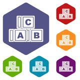 ABC cubes icons set hexagon Stock Photos