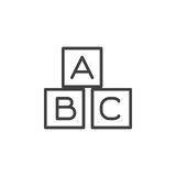 ABC cubes line icon, outline vector sign, linear style pictogram isolated on white. Symbol, logo illustration. Editable stroke. Pixel perfect stock illustration