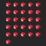 ABC Cubes (magenta color). Alphabet on the cubes (isometric royalty free illustration