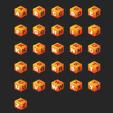ABC Cubes (orange color). Alphabet on the cubes (isometric royalty free illustration