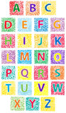 ABC. Cute colored hand drawn ABC in blocks stock illustration