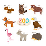 ABC. Cute zoo alphabet in vector. Funny cartoon animals. Ant, be Stock Photos