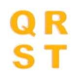 abc cztery glansowanych listów pomarańczowy plastikowy set Obrazy Stock