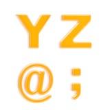abc cztery glansowanych listów pomarańczowy plastikowy set Zdjęcia Royalty Free