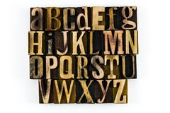 ABC d'isolement par bois d'impression typographique d'alphabet image libre de droits