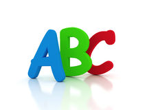 ABC 3D letter. In red, green and blue color Stock Images