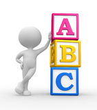 ABC. 3d people - man, person with a cubes and ABC stock illustration