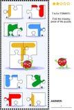 ABC, das pädagogisches Puzzlespiel lernt - beschriften Sie T (Tomate) Lizenzfreie Stockfotos