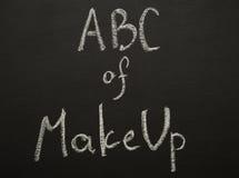 ABC de compone título del chulk en el escritorio negro Fotografía de archivo