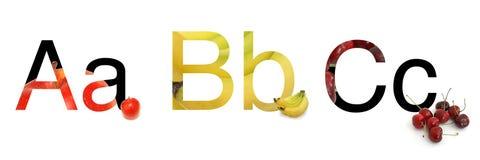 ABC de la fruta Imagen de archivo libre de regalías