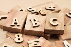 ABC de madera Imagenes de archivo
