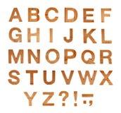 ABC de madera pone letras a alfabeto aislado Imágenes de archivo libres de regalías
