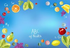 ABC de santé une dispersion des vitamines illustration stock
