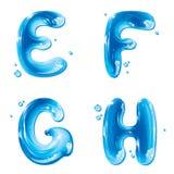 ABC - de Vloeibare Geplaatste Brief van het Water - Hoofd E-F G H Royalty-vrije Stock Foto's