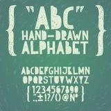 ABC del garabato del drenaje de la mano de la tiza de la pizarra de la pizarra, ilustración del vector