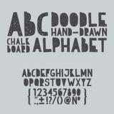 ABC del garabato del drenaje de la mano, tipo del rasguño del grunge del alfabeto Imagen de archivo