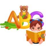 Abc dierlijke brieven voor school of van kleuterschoolkinderen alfabetonderwijs Royalty-vrije Stock Afbeelding