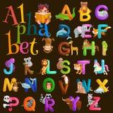 Abc dierlijke brieven voor school of van kleuterschoolkinderen geïsoleerd alfabetonderwijs Stock Afbeelding