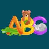 Abc dierlijke brieven voor school of van kleuterschoolkinderen geïsoleerd alfabetonderwijs Royalty-vrije Stock Afbeeldingen