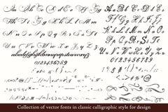 ABC disegnato a mano inglese nello stile d'annata classico Fotografia Stock