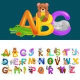 Abc-djurbokstäver för utbildning för skola- eller dagisbarnalfabet royaltyfri illustrationer