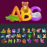 Abc-djurbokstäver för utbildning för skola- eller dagisbarnalfabet Arkivfoton