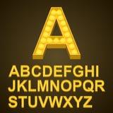 ABC do sinal da arte dos bulbos da fonte Fotografia de Stock