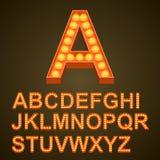 ABC do sinal da arte dos bulbos da fonte Foto de Stock