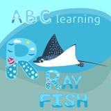ABC dzieciaków M listu mant promienia ryba dennego zwierzęcia postać z kreskówki oceanu wektorowy Błękitny łaciasty zwierzę, dręt royalty ilustracja