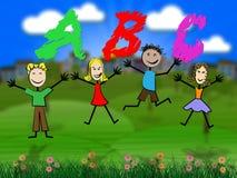 Abc edukacja I Abecadłowy Znaczymy dzieciaka abecadło royalty ilustracja