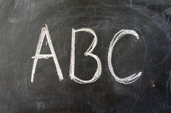 ABC em um quadro-negro da escola Fotografia de Stock