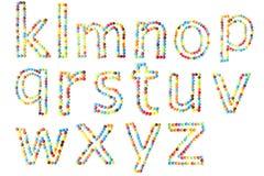 ABC en casquillos más inferiores hechos del caramelo aislado Fotografía de archivo