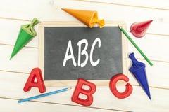 ABC en la pizarra Fotos de archivo libres de regalías