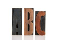 ABC en letras de la impresión Fotos de archivo