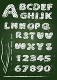 ABC - English alphabet written on a blackboard in white chalk - Royalty Free Stock Image