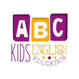 ABC english education for kids logo symbol. Colorful hand drawn label. For child development center, educational club, kids channel royalty free illustration