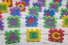 ABC escrito con alfabeto desconcierta Imagen de archivo libre de regalías