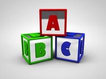 abc:et färgade alfabetbokstäver 3d framför Fotografering för Bildbyråer