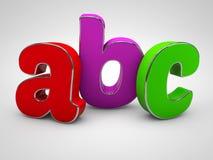 abc:et färgade alfabetbokstäver 3d framför Royaltyfri Bild