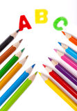 abc färgpennor, kornett Arkivbild