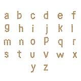 abc för engelskt alfabet av torr katt- och hundmat, på vit Arkivbilder