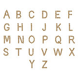 abc för engelskt alfabet av torr katt- och hundmat, på vit Arkivfoton