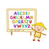 abc för ungealfabetet, illustration, vektor, ungar, barn, gyckel, Arkivfoto