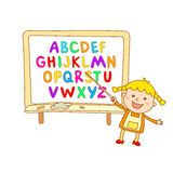 ABC für Kinderalphabet, Illustration, Vektor, Kinder, Kinder, Spaß, Stockfoto