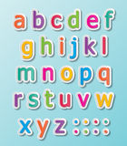 Abc font. Colorful paper font signs. smalll letters A-Z Stock Photos