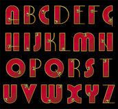 ABC. Fonte tipografica di vettore. Iniziali decorate in oro Fotografia Stock