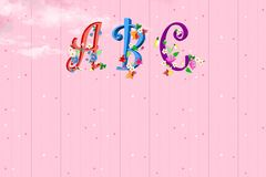 ABC fonts with flowers. On pink paper background vector illustration