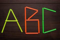 ABC formado con la cuenta de los palillos Fotos de archivo