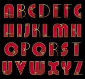ABC. Fuente de vector. Iniciales adornadas en oro Fotografía de archivo