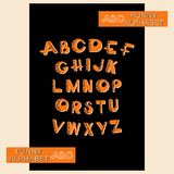 ABC. FUNNY ALPHABET. Design a bright font and an alphabet of capital letters for children using mathematical symbols Vector Illustration